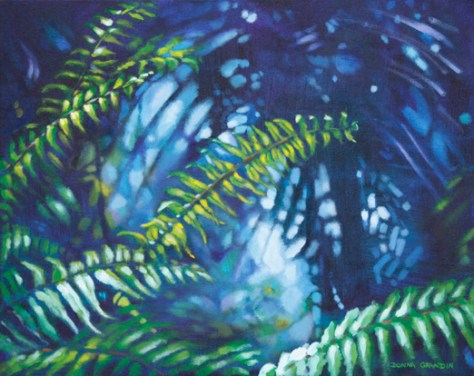 "Fernscape, 16""x20"", acrylic on canvas, © 2014 Donna Grandin. $800."