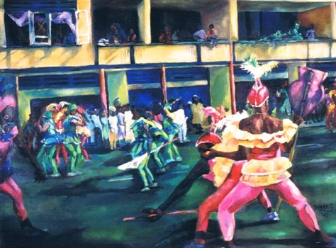 "Carnival, 36""x48"", acrylic on canvas, © 1997 Donna Grandin"