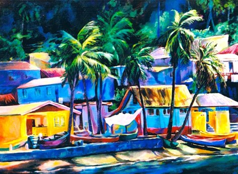 "Soufriere, 36""x48"", acrylic on canvas, 1997. Sold"