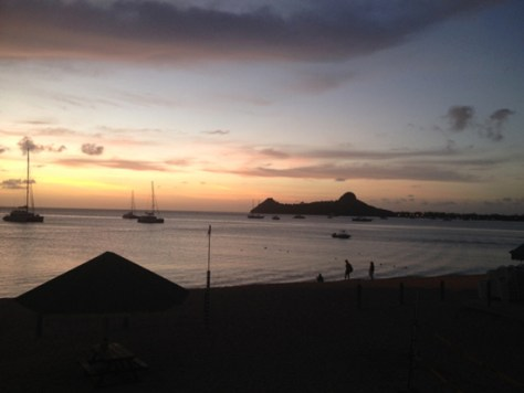Sunset from the balcony of the St. Lucia Yacht Club