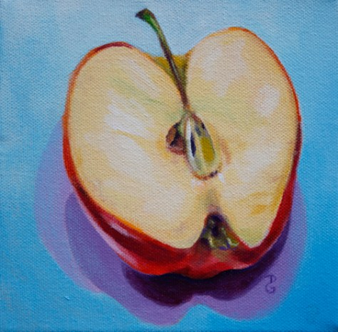 "Apple, 6""x6"", acrylic on canvas, © 2014 Donna Grandin. $100."