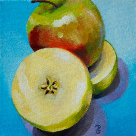"Apple 2, 6""x6"", acrylic on canvas, © 2014 Donna Grandin. $100."