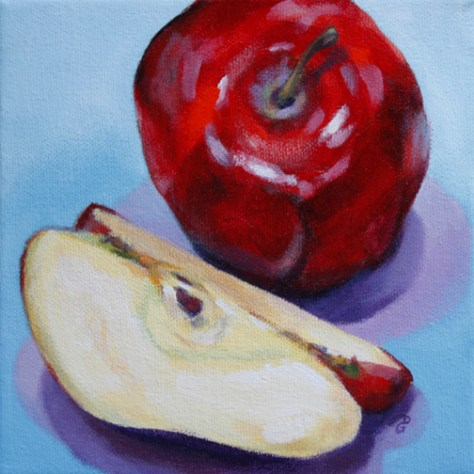 "Apple 3, 6""x6"", acrylic on canvas, © 2014 Donna Grandin. $100."