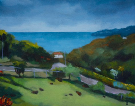 "Coubaril, 11""x14"", acrylic on canvas, ©2014 Donna Grandin. $200."