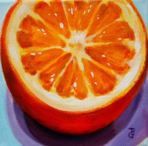 "Orange, 6""x6"", acrylic on canvas, © 2014 Donna Grandin. $100."