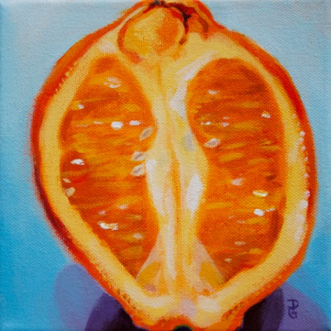 "Orange 2, 6""x6"", acrylic on canvsas, © 2014 Donna Grandin. $100."
