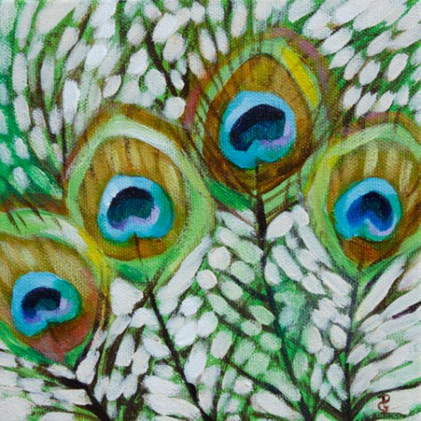 "Peacock feathers, 6""x6"", acrylic on canvas, © 2014 Donna Grandin. $100."