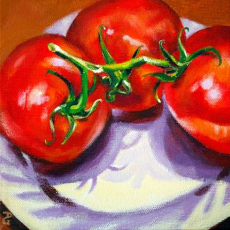 "Tomato still-life 3, 6""x6"", acrylic on canvas, © 2014 Donna Grandin. $100."