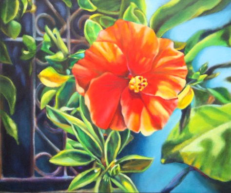 red hibiscus painting