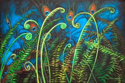 "Peacock garden, 24""x36"", acrylic on canvas, © 2015 Donna Grandin"