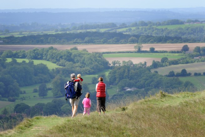 Family group on top of Old Winchester Hill