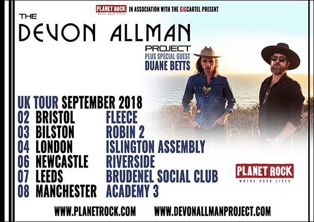 The Devon Allman Project UK Tour September 2018