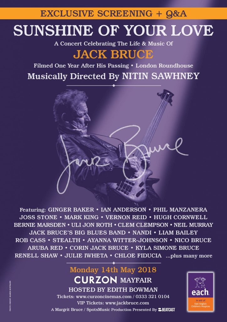 Jack Bruce Sunshine of Your Love Tribute Concert Screening