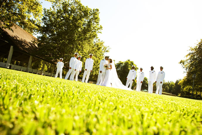 Bride and Groom with some members of the U.S. Navy at Brookside Equestrian Center