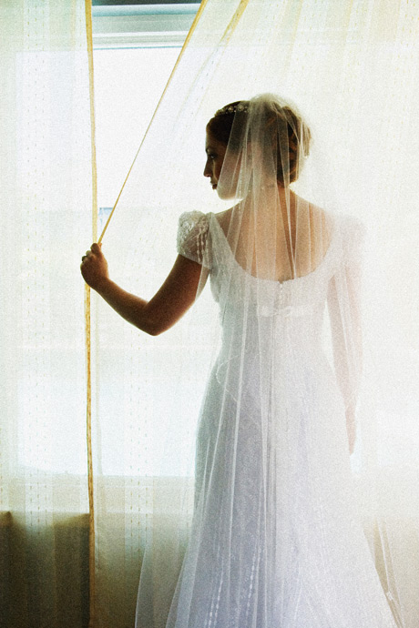 Bride at her parent's house before her wedding ceremony