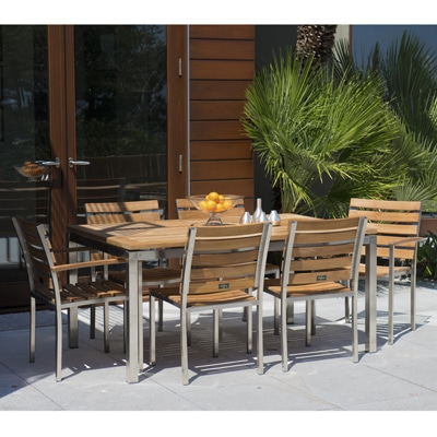 Teak and Stainless Steel Dining set