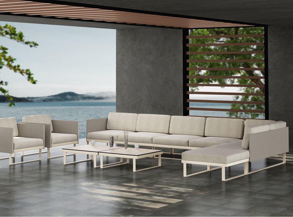 Suave Seating Set, Large White Cushion - Waterside