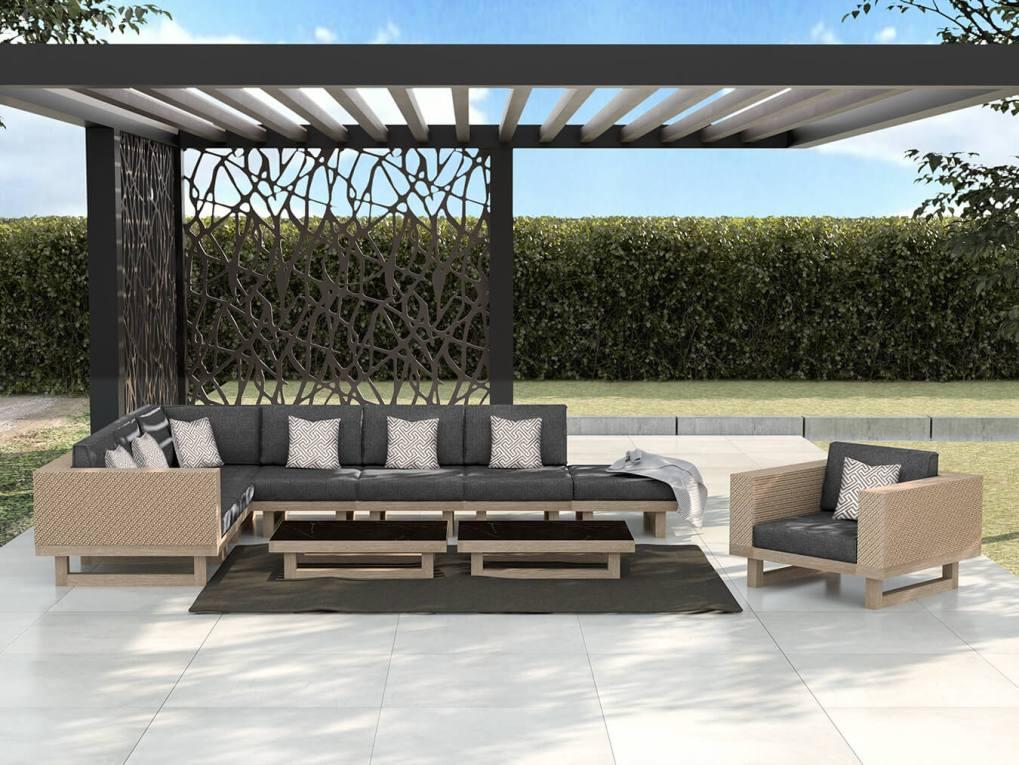 Modern Sofa and Pergola, Residential Grade - Grey