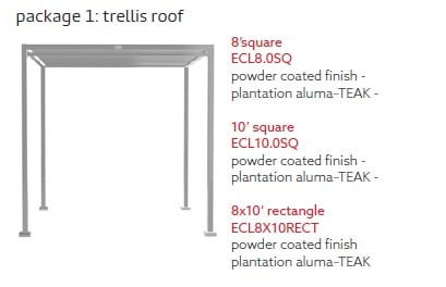Tuuci Eclipse Trellis Roof Only Diagram - Silver