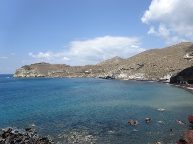 Red beach Santorini Greece, Blue Sky and Wine