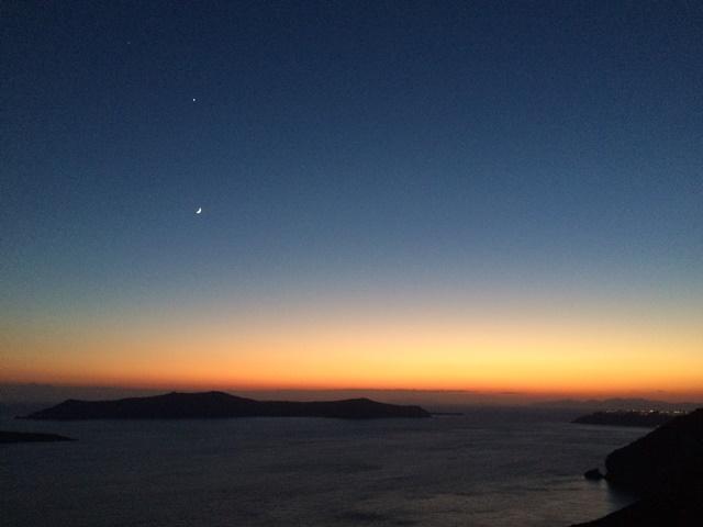 Sunset Santorini Greece, Blue Sky and Wine
