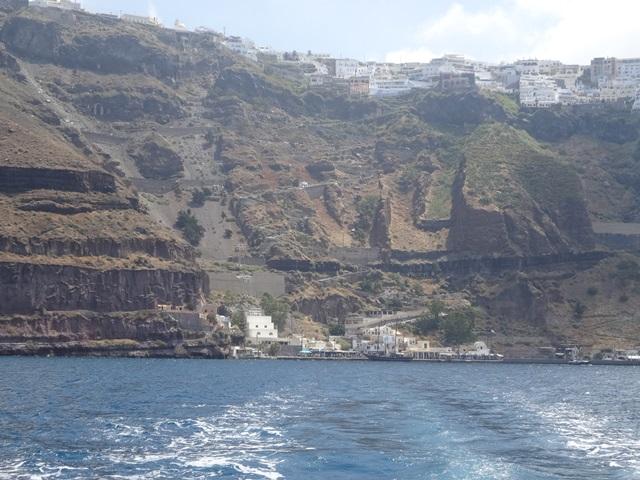 Old port in Fira, Santorini Greece, Blue Sky and Wine