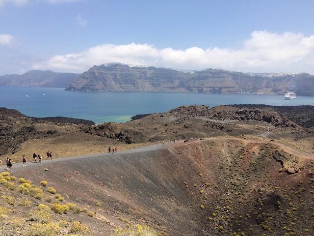 Nea Kameni Volcano Crater, Santorini Greece, Blue Sky and Wine