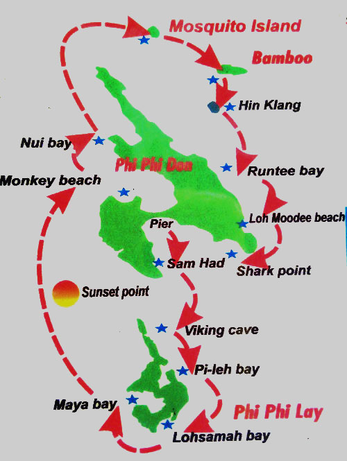 phi-phi-island-hopping-tour-map, Thailand, Blue Sky and Wine