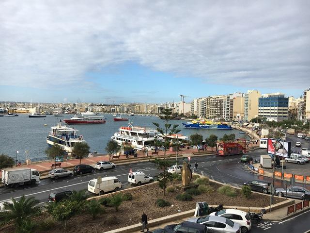 Sliema Marina Hotel window view, Malta, Blue Sky and Wine
