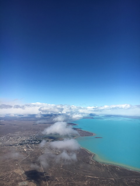 Blue Sky and Wine, Window view over El Calafate, Argentina