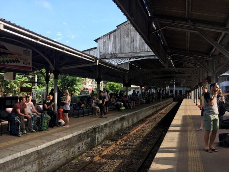 Train platform in Kandy Railway Station, Sri Lanka, Blue Sky and Wine