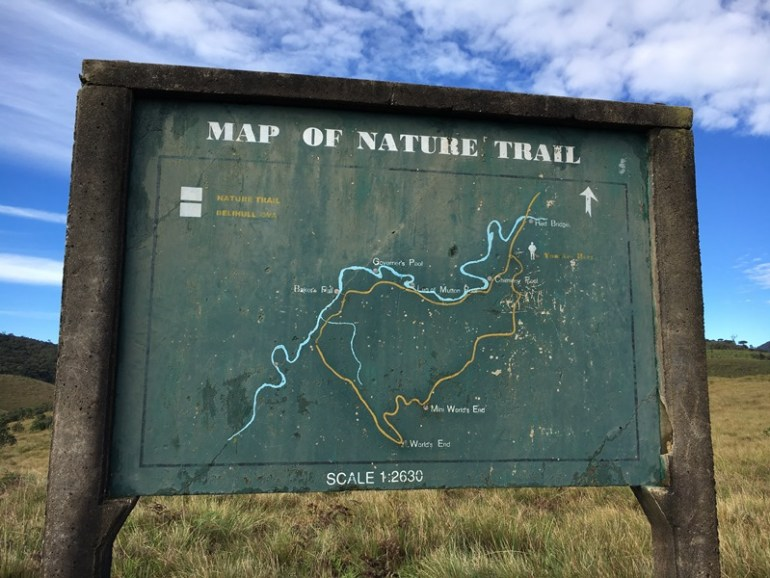 Horton Plains hiking map, Nuwara Eliya, Sri Lanka, Blue Sky and Wine