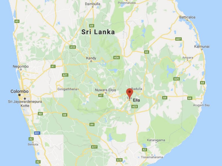 Map of Ella, Sri Lanka, Blue Sky and Wine