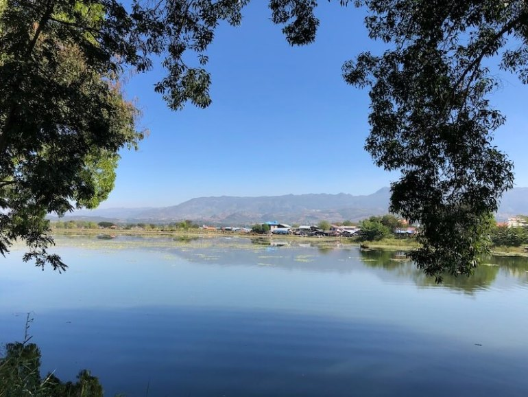 Tharzi Pond view Inle Lake Myanmar, Blue Sky and Wine