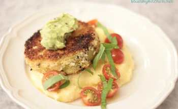 Fried Green Tomatoes with Polenta and Avocado Cream Sauce