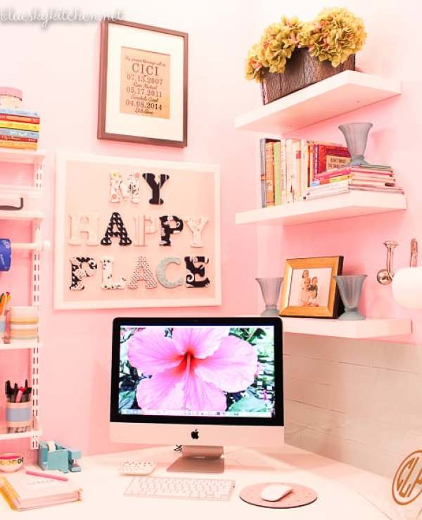 Home Office Reveal shelving, work station and decorative pictures.