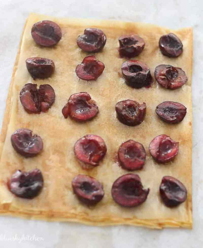 Quick and Easy Cherry Dessert Made with Phyllo Dough. This fresh cherry dessert is a crisp bite of fruity goodness that takes just 20 minutes to prepare.