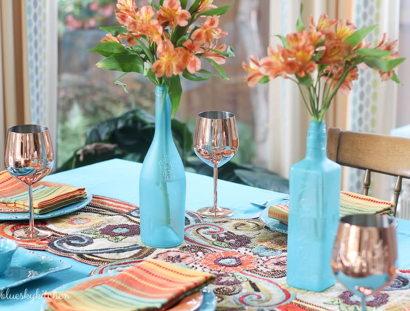 My New Fall Tablescape Inspiration from Color and Texture. Turquoise and copper are the foundation of a autumn tablescape with shiney and beaded textures.