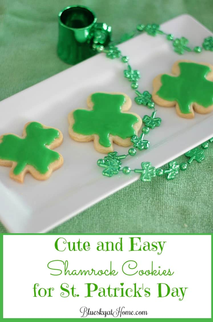 Cute and Easy Shamrock Cookies for St. Patrick's Day. These sweet cookies are so cute that all your leprechauns will be smiling with Irish Eyes. They are easy to make and a great project for kids. Just watch out for the food coloring. BlueskyatHome.com