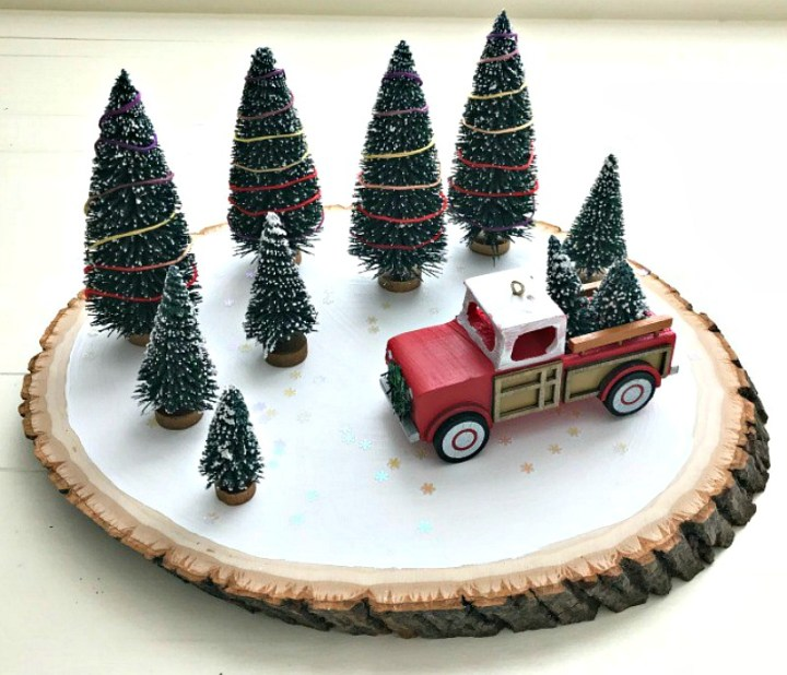 Red truck Christmas centerpiece