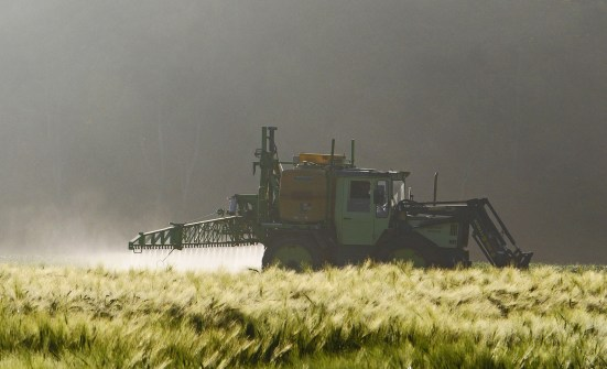 Agriculture vehicle in field spraying synthetic pesticides on a crop at dawn