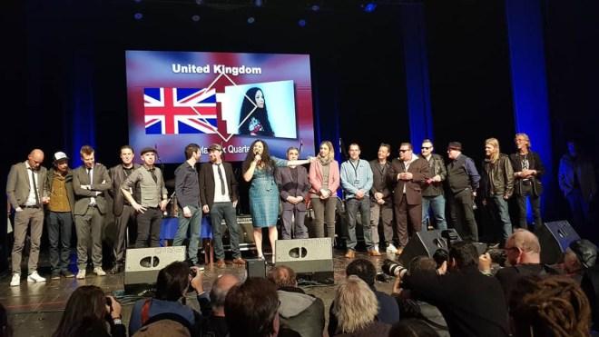 De tre vinnerbandene under avslutningen av EBC 2019, fra v. The Dynamite Blues Band (Ned), Kyla Brox Quartet (UK) og GB Blues Express (N).
