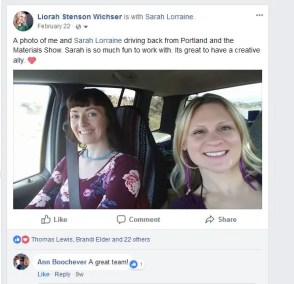 Spring 2018 Sarah and Liorah driving back from Portland materials show