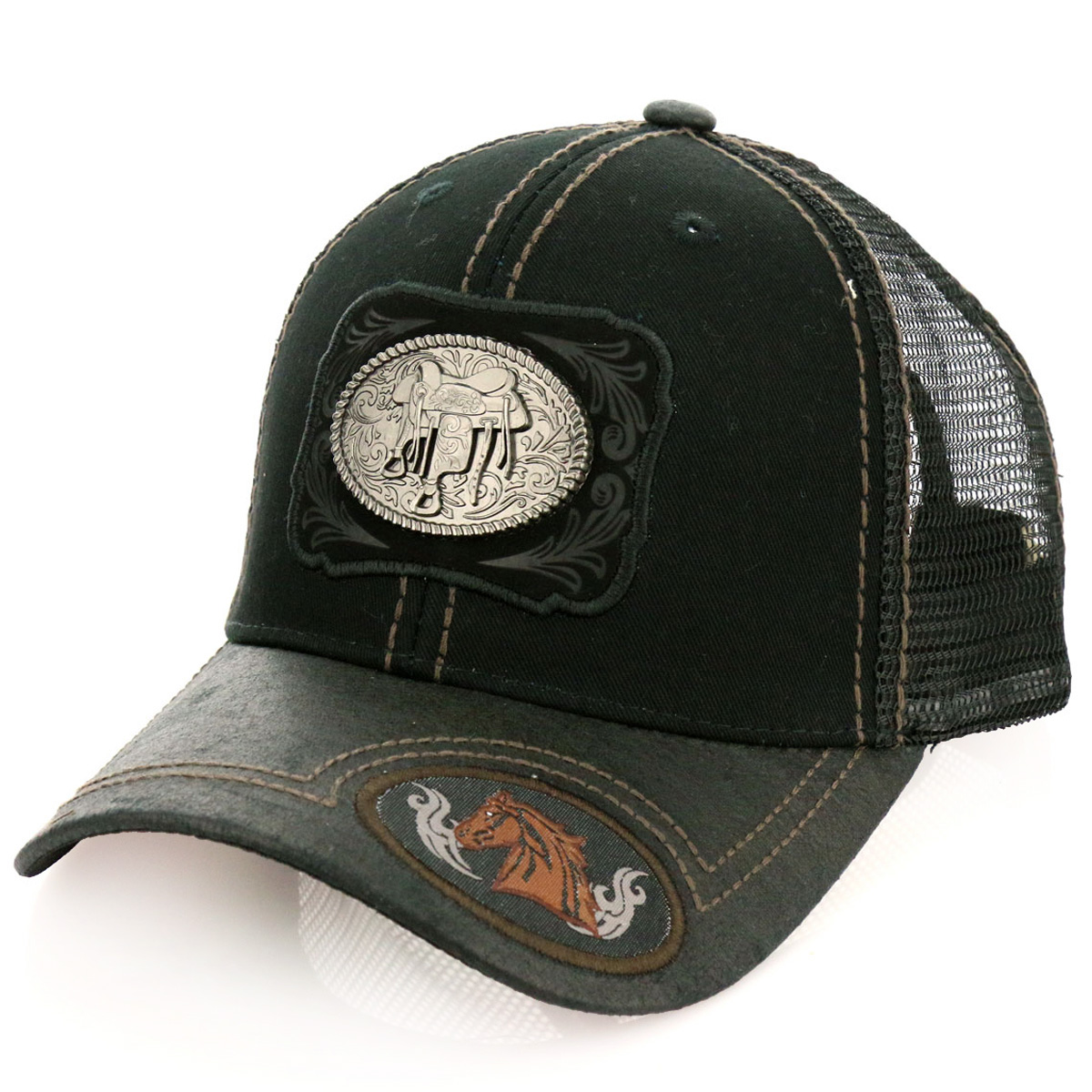 Pitbull Saddle Patch Metal Cotton Vintage Mesh Ball Cap-PB-117/BLK