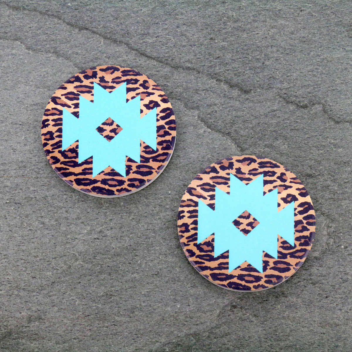 Leopard Mint Navajo Absorbent Ceramic Car Coasters-ST0089/CLY