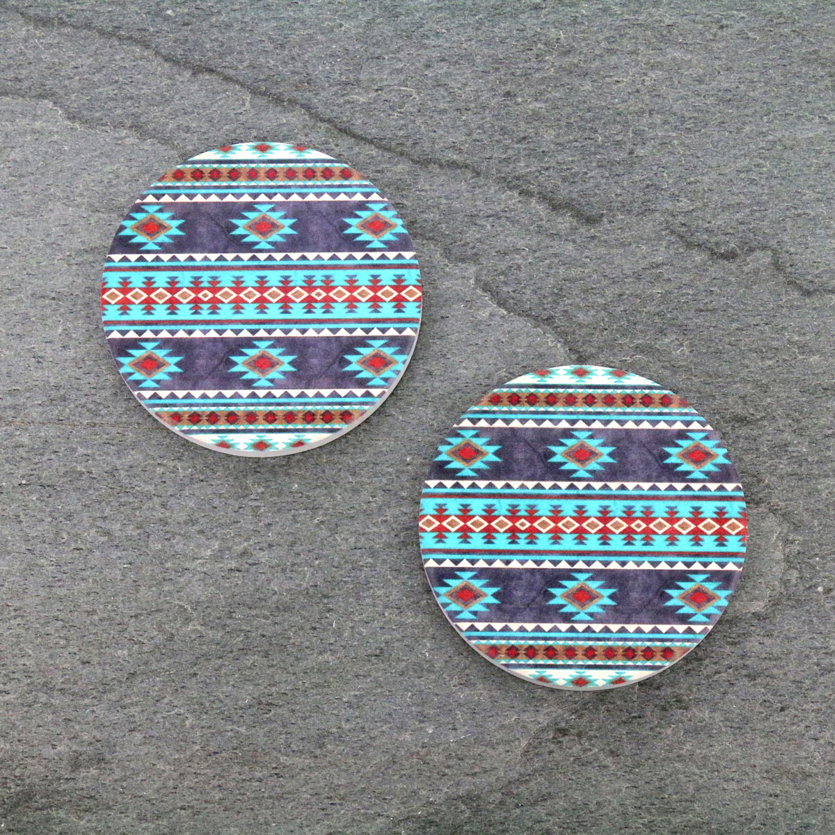 Navajo Design Absorbent Ceramic Car Coasters-ST0033/CLY