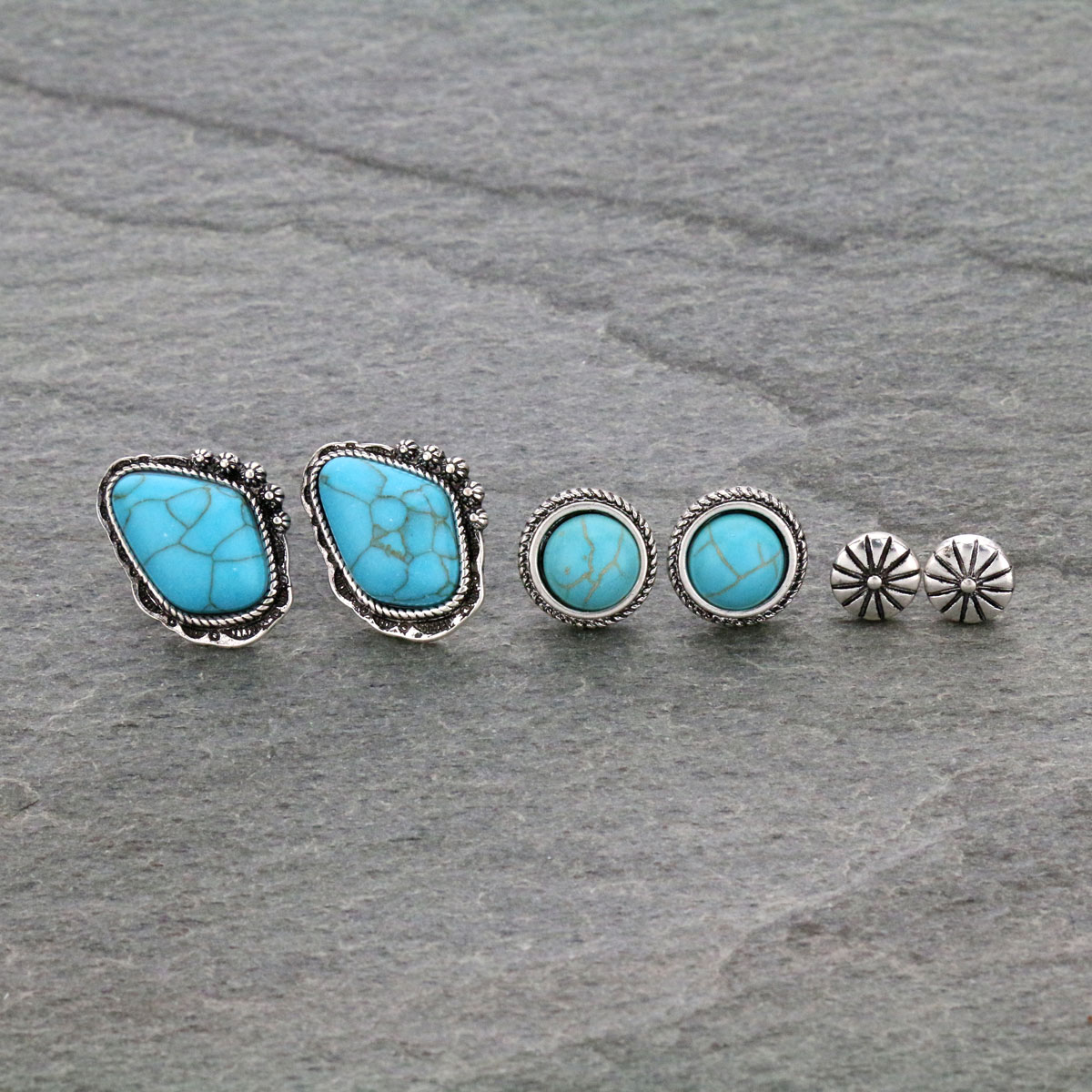 3 Pair Western Turquoise Post Earrings Set-SE1115/SBTQ