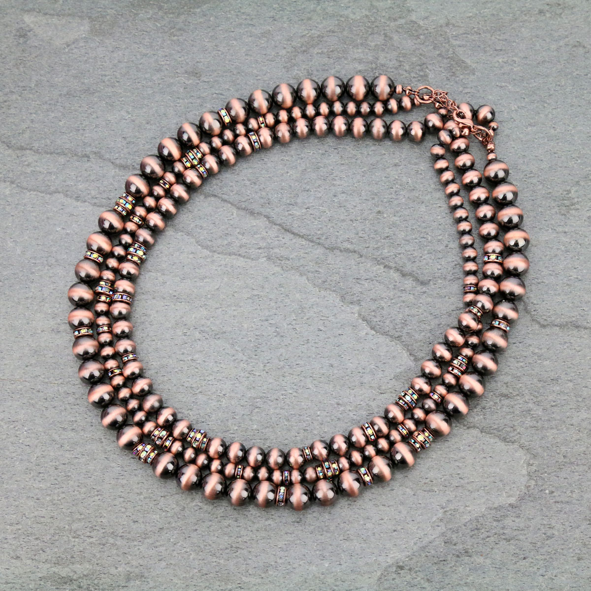 Navajo Pearl Layered Necklace-KN-0003/COP