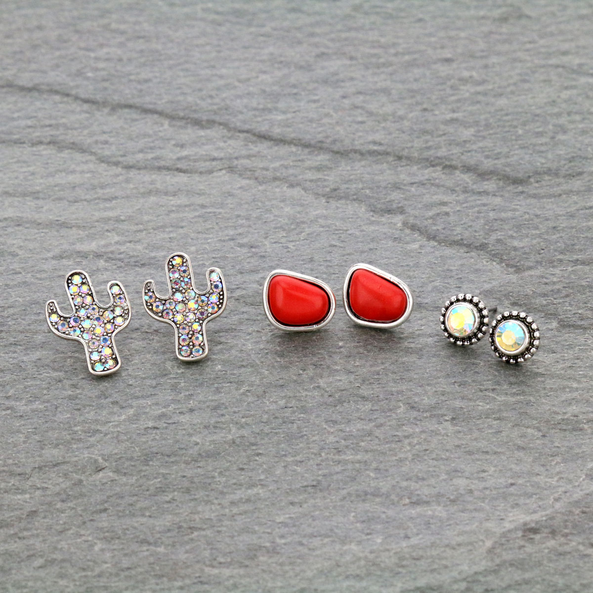 3 Pair Cactus Stone Stud Earrings Set-ER1115/COR