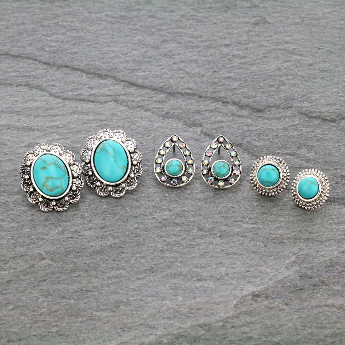 3 Pair Stone Stud Earrings Set-ER1118/TQ
